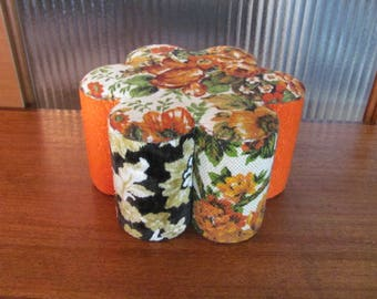 Vintage 70's Handmade Eclectic Floral Pattern Fabric Juice Can Footstool  - 70's Fabric Stool - Recycled Can Foot Stool - 70's Foot Rest