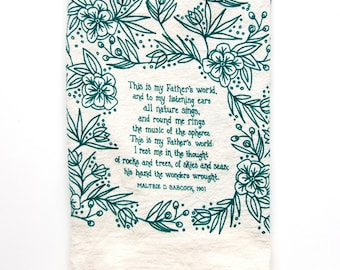 PREORDER Hymn Tea Towel This Is My Father's World housewarming gift teacher gift ideas botanical print art print kitchen towels gift for her