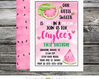 One in a Melon Birthday Invitation, Watermelon Invite, Watercolor Watermelon Invitation, Birthday Invite, 1st Birthday Invite, Baby Shower
