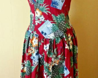 Vintage 1980s HILO HATTIE Sundress Size L Dark Red Tropical Floral Print 100% Cotton