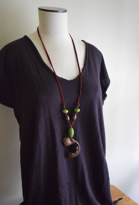 Unique Handmade Vintage Drift Wood Leather Bead Necklace - Natural, Boho, Forest