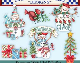 Snowman Clip Art, Laurie Furnell, Christmas Clip Art, Holiday Clip Art, Christmas Paper crafts, Holiday Card Making, Watercolor Clip Art