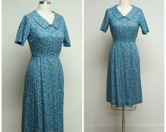 Vintage 1950s Dress • Falling in Love • Teal Blue Pink Polka Dot Cotton Voile 50s Day Dress Size Medium