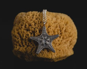 Sterling Silver Starfish Necklace-Detailed Starfish Pendant-Shell Jewellery-Summer Pendants-Ocean Jewellery