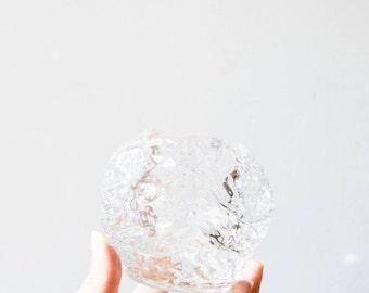 Vintage Kosta Boda Scandinavian Modernist Icy Glass Snowball Candle Holder // Ann Warff // Large Size
