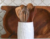 Utensil Holder - Hand Carved - Geometric Modern Kitchen Home Decor - Creamy White - Hand Thrown Vase - MADE TO ORDER