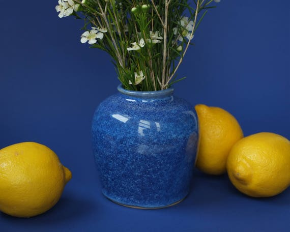 deep blue ceramic vase / weed pot