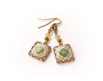Botanic earrings Vintage pattern Green leaves Plants