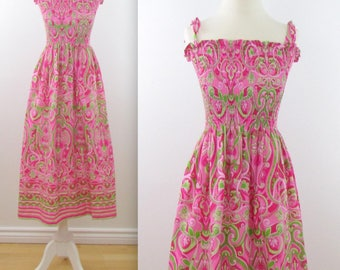 Smocked Festival Sundress - Vintage Printed Summer Dress in Hot Pink and Lime Green - Small Medium