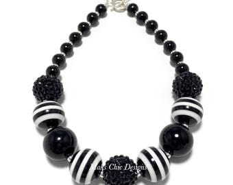 Toddler or Girls Black and White Striped Chunky Necklace - Halloween Necklace - Skeleton Chunky Necklace - Nightmare necklace - Monochrome