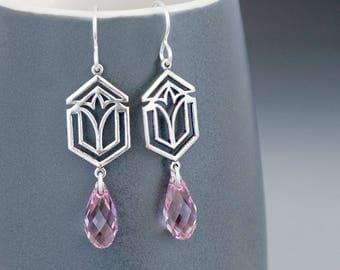 Art Deco Earrings, Swarovski Crystal Earrings, Light Purple Crystal Jewelry, Silver Art Deco Jewelry, Glass Dangle Earrings Drop, Gudrun
