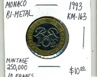 1993 Monaco 10 Francs Bi-Metal Coin - Mintage 250,000 - KM-163 - Engraver: Roger B. Baron
