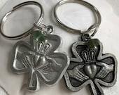 Irish claddagh with green sea glass keychain, traditional Irish symbol, love, commitment, claddagh Irish keychain, unisex