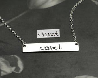 Actual Handwriting Bar Necklace - Custom Handwriting - Memorial Handwriting Jewelry - Signature Necklace