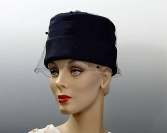 Vintage Pillbox Hat MOD Tall Crown 1960's Navy Blue Silk with Matching Polka Dot Veil
