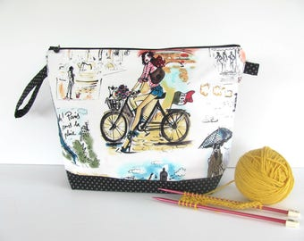 Knitting Bag, zipper Crochet Bag, Medium shawl sweater project bag, Cycling in Paris gift for knitter