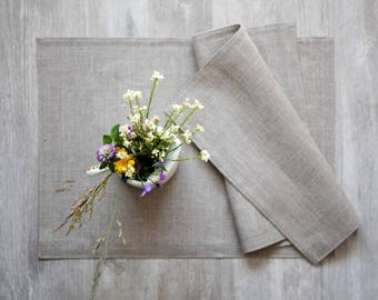 12 Linen farmhouse placemats set sewn in 13x18 inch size, nautical natural linen placemats, washable placemats, rustic placemats
