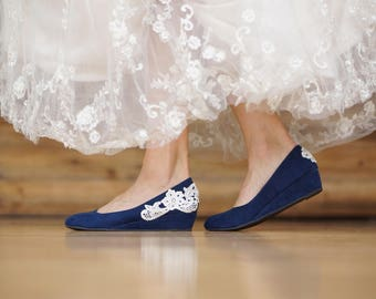 Low Navy Wedges,Blue Wedding Shoes,Low Heels,Navy Heel,Blue Wedges,Bridal Shoes,Flats,Bridal,Low Wedding Heels,Low Wedge with Ivory Lace