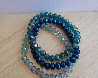 3 Bangle Stretch Bracelets made with Metallic Blue and Multi Color Crystal Beads