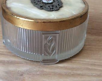 Vintage Brass and Glass Round Art Deco Dresser Jar, Vintage Trinket Jar, Vanity Jar, Powder Jar