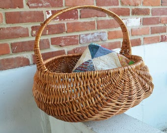 Vintage Large Gathering Storage Wicker Basket