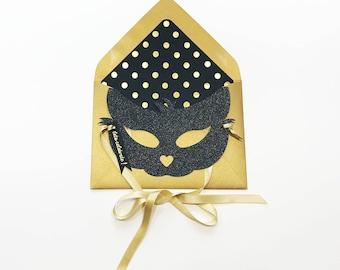 Black Glitter Cat Mask Card