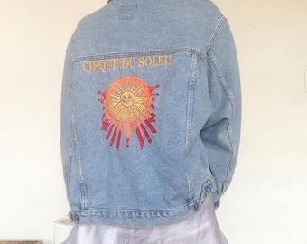 90's Vintage Cirque Du Soleil Blue Denim Jacket Size L/XL