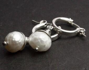 White Baroque Pearl Earrings. Hoop Earrings. White Pearl Earrings. Goldfill Earrings. Silver Earrings. June Birthstone