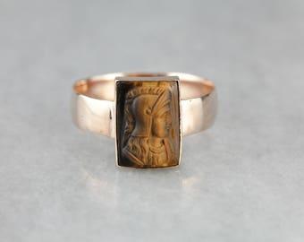 Victorian Era Tiger's Eye Cameo Rose Gold Ring TUUM06TU-N