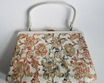 Vintage Delill Handbag & Coin Purse  |  Machine Embroidered Women's Bag  |  Vintage Delill Purse  |  Fantastic Embroidered Bag w/Gold Clasp