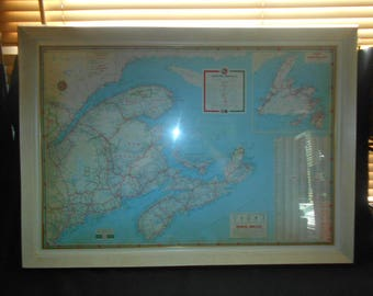 Vintage British American Oil Company (Gulf Oil)  Maritime Provinces Travel Map - 1940s