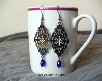 Drop earrings, blue purple crystal earrings, chandelier earrings, hippie jewelry, stainless steel, renaissance jewelry, FREE shipping !