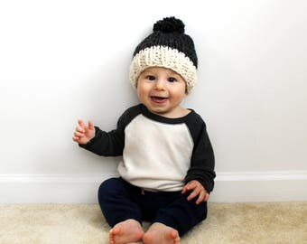 Knit Hat Child Toddler, Chunky Knitted Baby Pom- Little Annapolis Hat