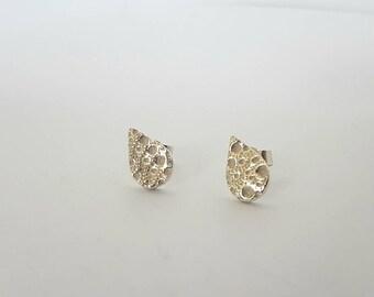 Sea urchin texture teardrop stu earrings//solid silver earrings