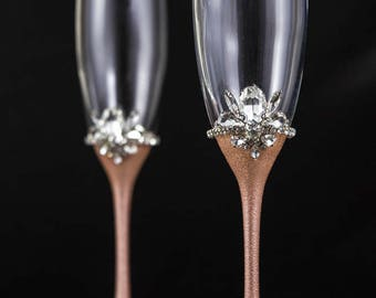 Rose Gold Wedding Glasses Personalized Champagne Flutes, Rose Gold Flute Set, Bling Toasting Glasses Wedding Gift, Engraved Glasses Set Of 2