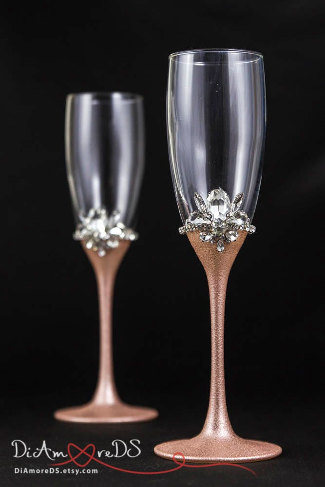 Rose gold wedding glasses personalized champagne flutes rose for Wedding champagne flutes