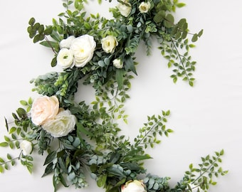 Wedding Garland - Eucalyptus Garland - Floral Garland - Garland Greenery - Floral Backdrop - Farmhouse Decor - Bridal Shower Decor