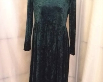 Vintage green dress 90s crush velvet dress forest green gunne sac dress size medium