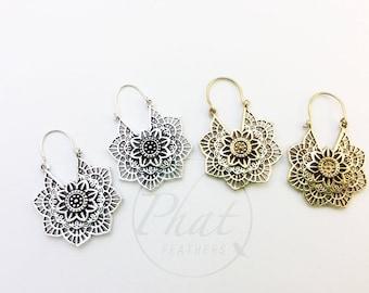 Tribal Brass Mandala Earrings, Flower Earrings, Boho Earrings, Gypsy Earrings, Yoga Earrings, Belly Dance Jewelry, Ethnic Earrings, Geometry