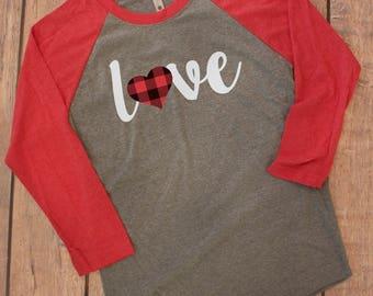 Love Valentine Shirt, Buffalo Plaid Valentines Day Shirt Women, Ladies Valentines  Shirt, Valentines