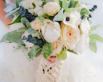 Custom Boho Bouquet, Silk Flower Bouquet, Artificial Bouquet, Bridal Bouquet, Macrame Wrap, Wedding Bouquet, Bohemian bouquet, Real Touch