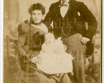 Cabinet Card Photo Victorian Smart Married Couple Holding Baby Young Family Portrait - Barry of Barking Road E. England - Antique Photograph