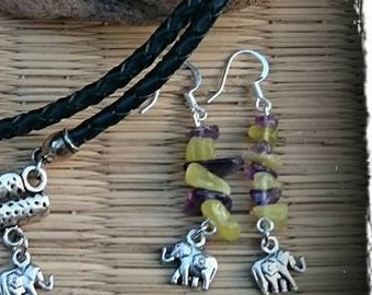 Earrings amethyst and jade with elephant pendant