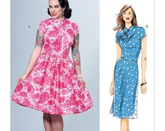 6383, Butterick, Asian Style, Mandarine Collar, Patterns by Gertie, Flared Dress, Pencil Dress, Cheongsam Dress, Retro Asian Fashion