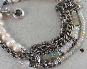 bracelet, rainbow moonstone bracelet, moonstone bracelet, keshi pearl bracelet, bohemian bracelet, bracelet, boho chic bracelet