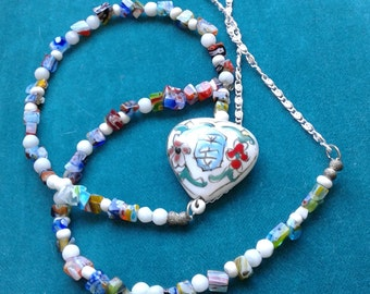 Painted Heart Necklace - hand  painted porcelain focal - millefiori beads - just fun necklace -