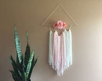 Girl Nursery Flower Wall Decor Pink White Hanging Tapestry Boho Bohemian Modern Baby Bedroom Rose Spring Tassel Baby Shower Centerpiece Crib