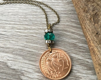 50th birthday gift for her, 1968 New Zealand pretty coin necklace, pendant, present woman, kōwhai flower Jewelry, anniversary, retirement
