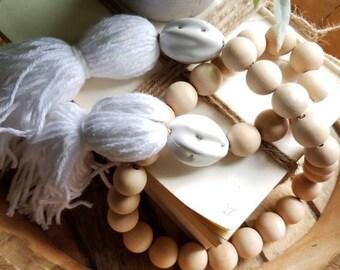 Wood Bead Garland - Bead Garland - Farmhouse Decor - Farmhouse - Garland - Wood Beads - Natural Wood Beads - FREE SHIPPING