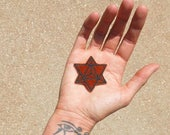 MINI Merkaba Star Patch, Sacred Geometry, Brown Velvet with Black, Iron On, Handmade with Love